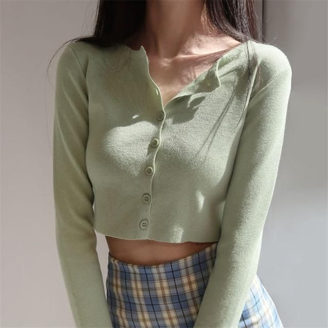 Sleeve Sun Protection Crop Top - One Size / green
