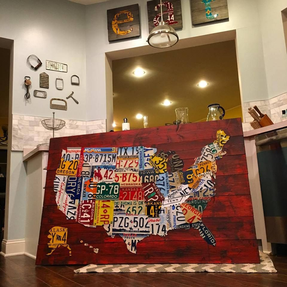 I Made Maps Of The Usa Out Of Vintage License Plates Interesting - Us-map-made-out-of-license-plates