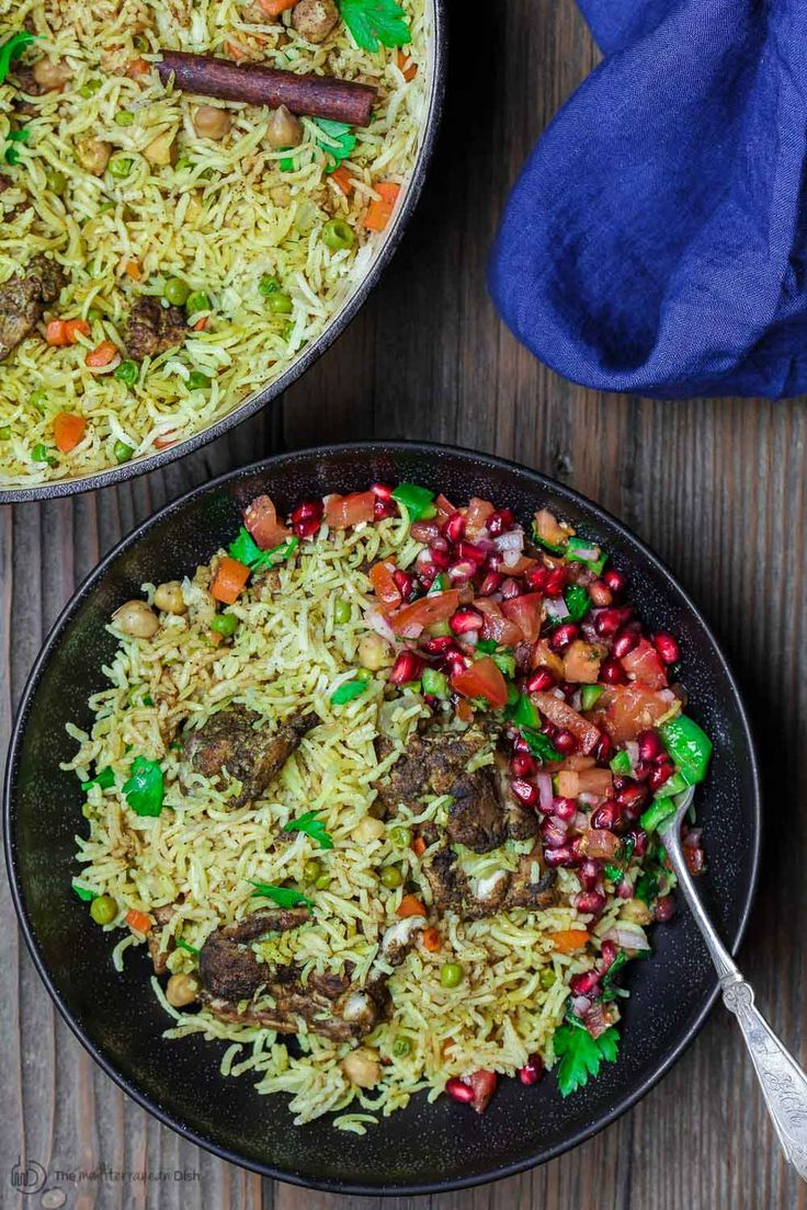 Middle eastern chicken and rice the mediterranean dish