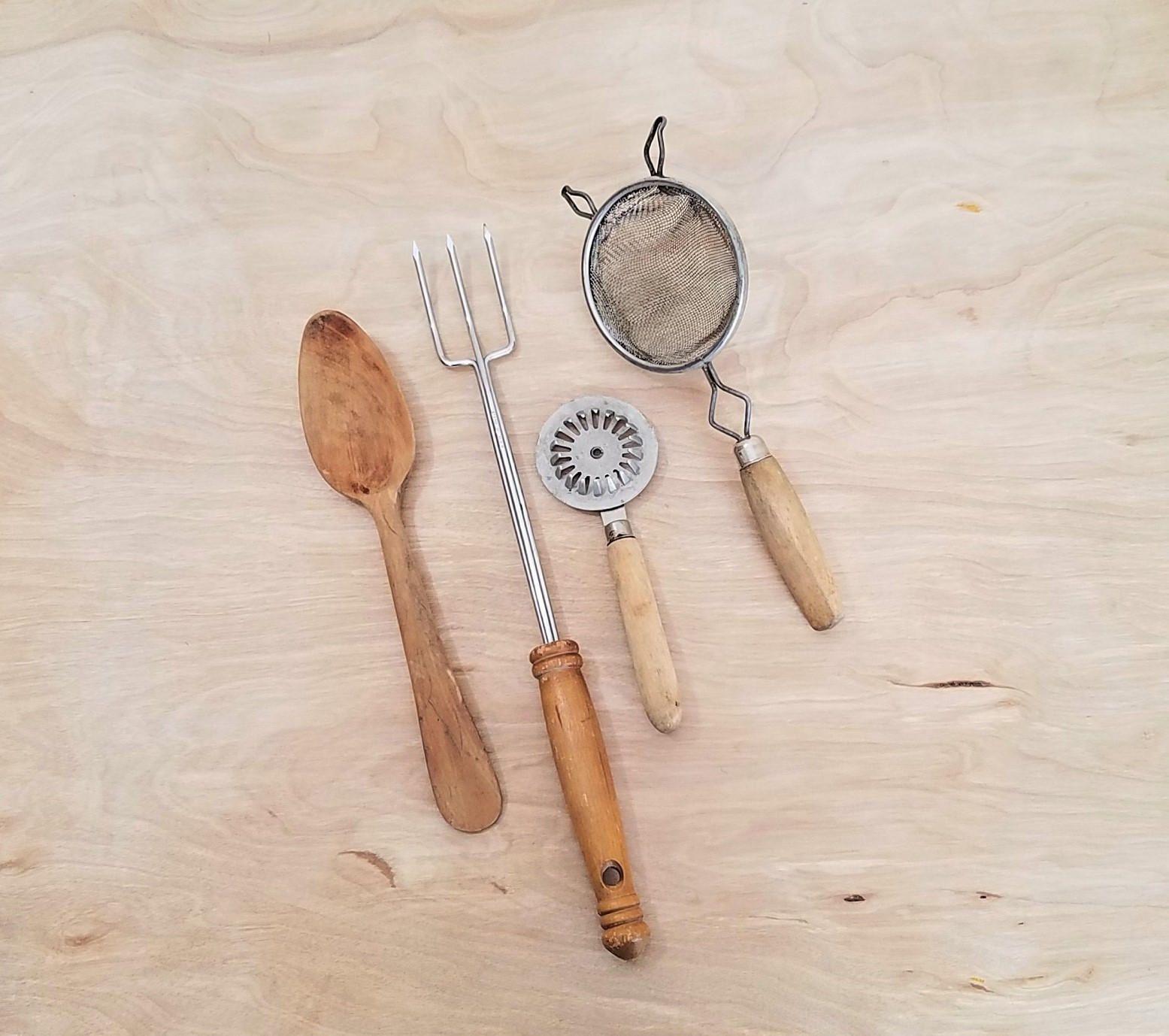 vintage farmhouse utensils rustic kitchen utensils wooden spoon long fork hand strainer pie on farmhouse kitchen utensils id=53581