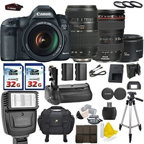Canon EOS 5D Mark III 223 MP Full Frame CMOS With Canon EF 24105mm F4 L IS  USM Tamron AF 70300mm F456 Canon EF 50mm F18 II 2 Commander 32GB Memory  Cards ...