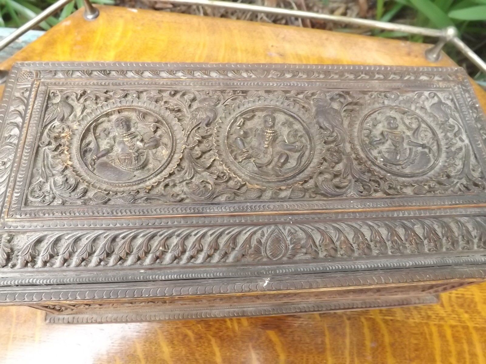 Superb Large Antique India Indian Carved Deightys Wooden Panel