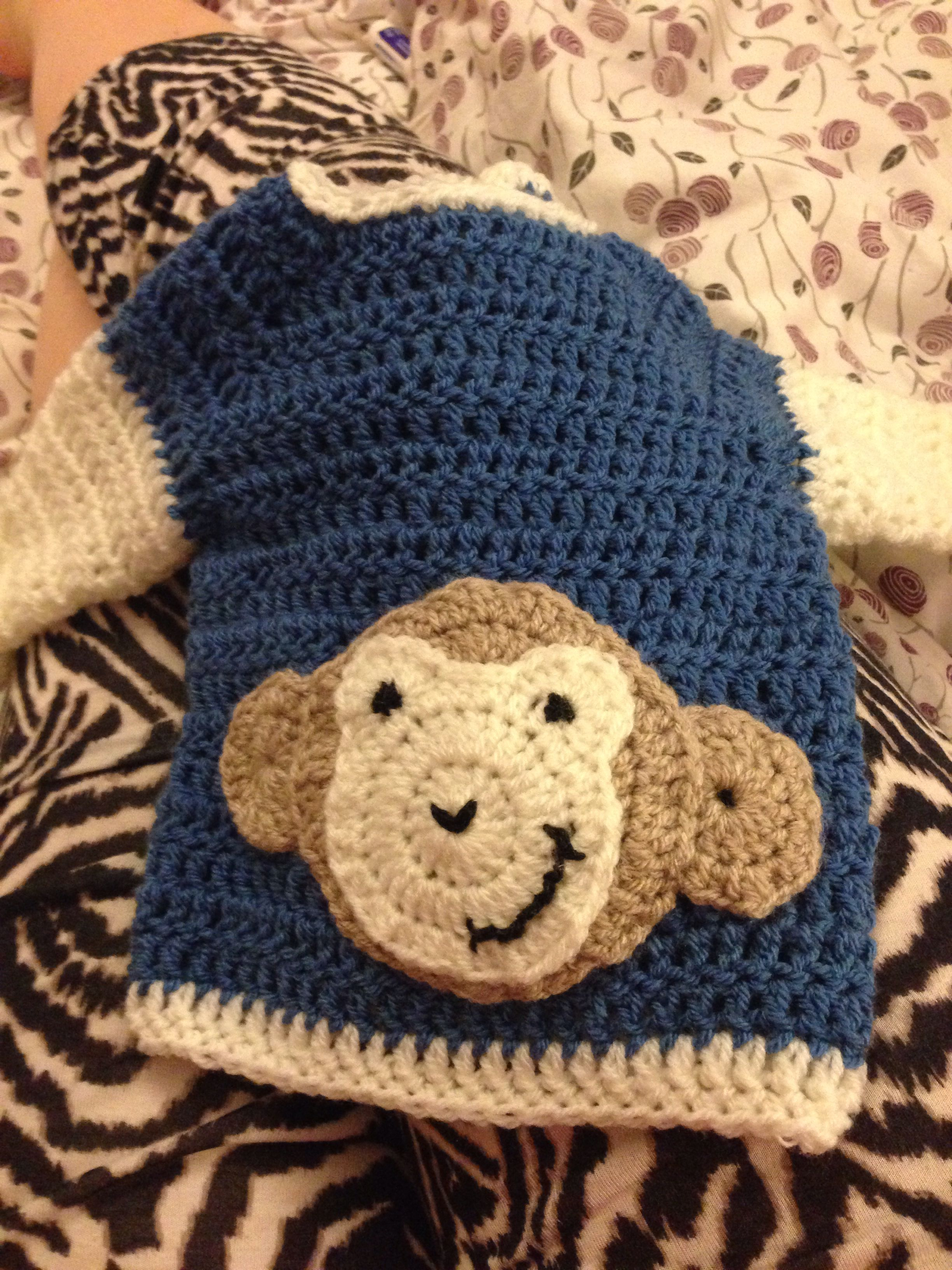 Crochet baby jacket monkey applique