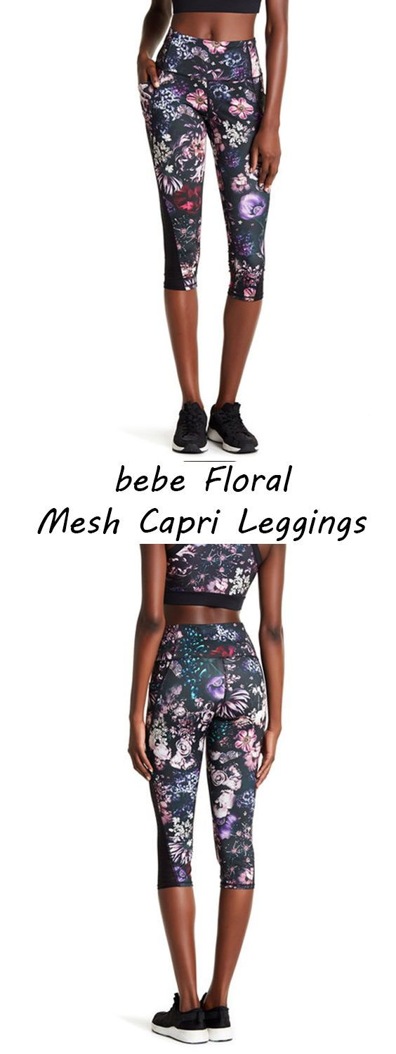 f9840501bf8a Bebe Shadow Stripe Floral Mesh Capri Leggings