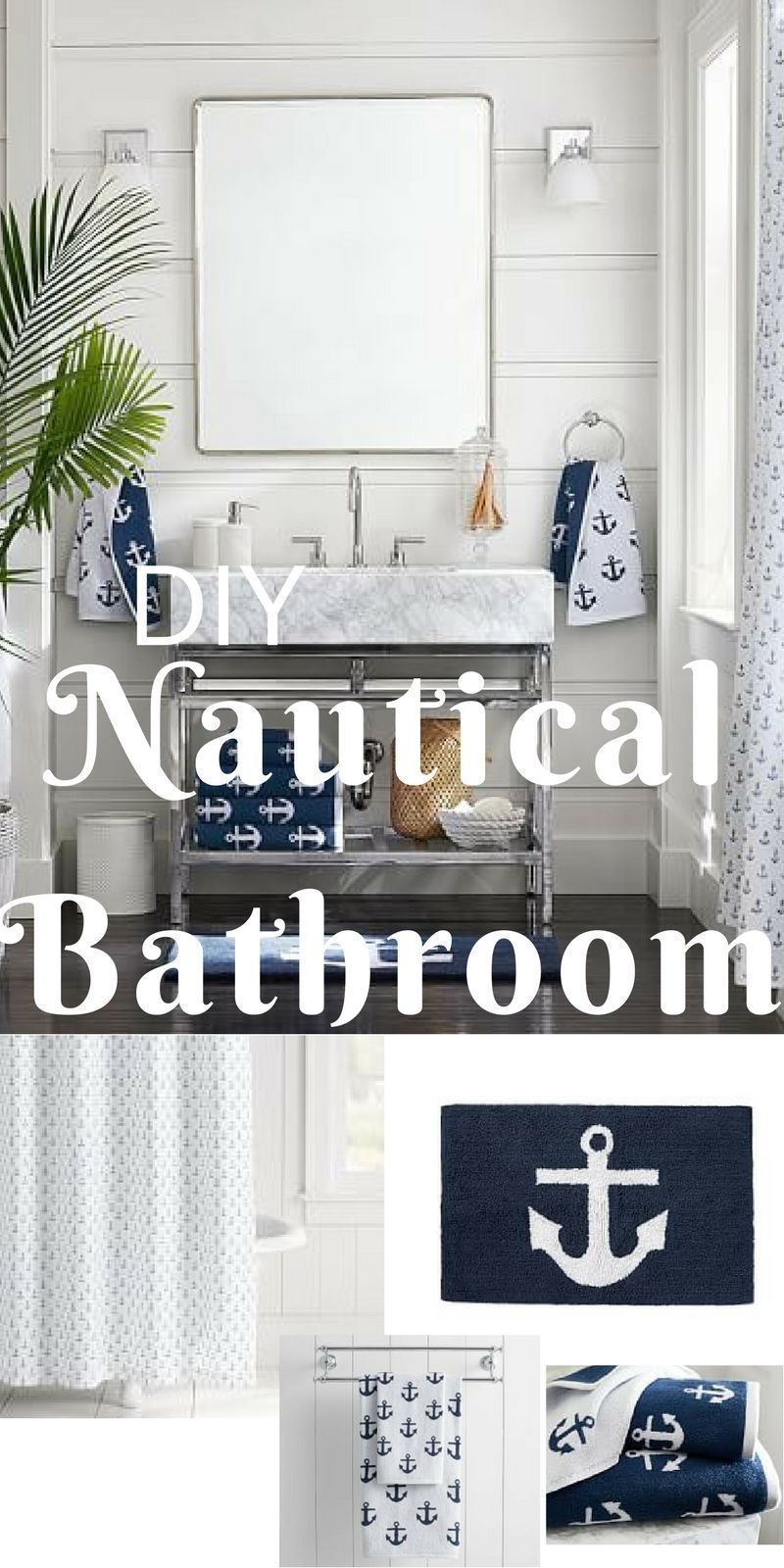 This Is An Simple And Easy Way To Get The Nautical Look In Your Home Anchor Themed Bathroom Decor All From Pottery Nautical Bathroom Decor Coastal Decor Decor