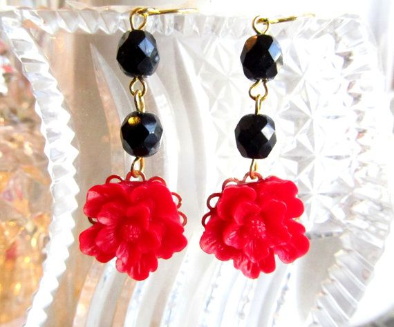 Jolly Christmas Red and Black EarringsGreat by 4TasteofShabbyChic, $28.00