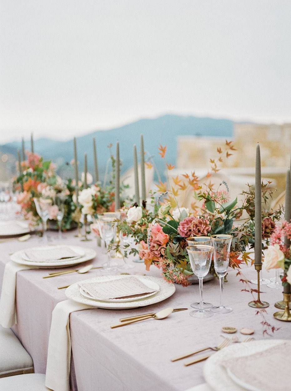Ballet Bridal Style Meets Mount Olympus Like Venue In California Beautiful Wedding Table Decorations Wedding Table Centerpieces Wedding Place Settings