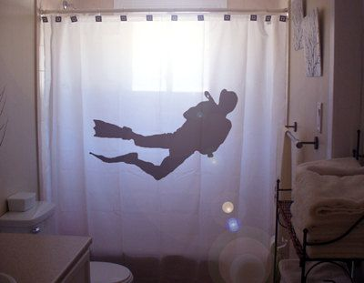 Scuba Diver Shower Curtain Bathroom Decor kids bath ocean diving – Ocean Bathroom Decor