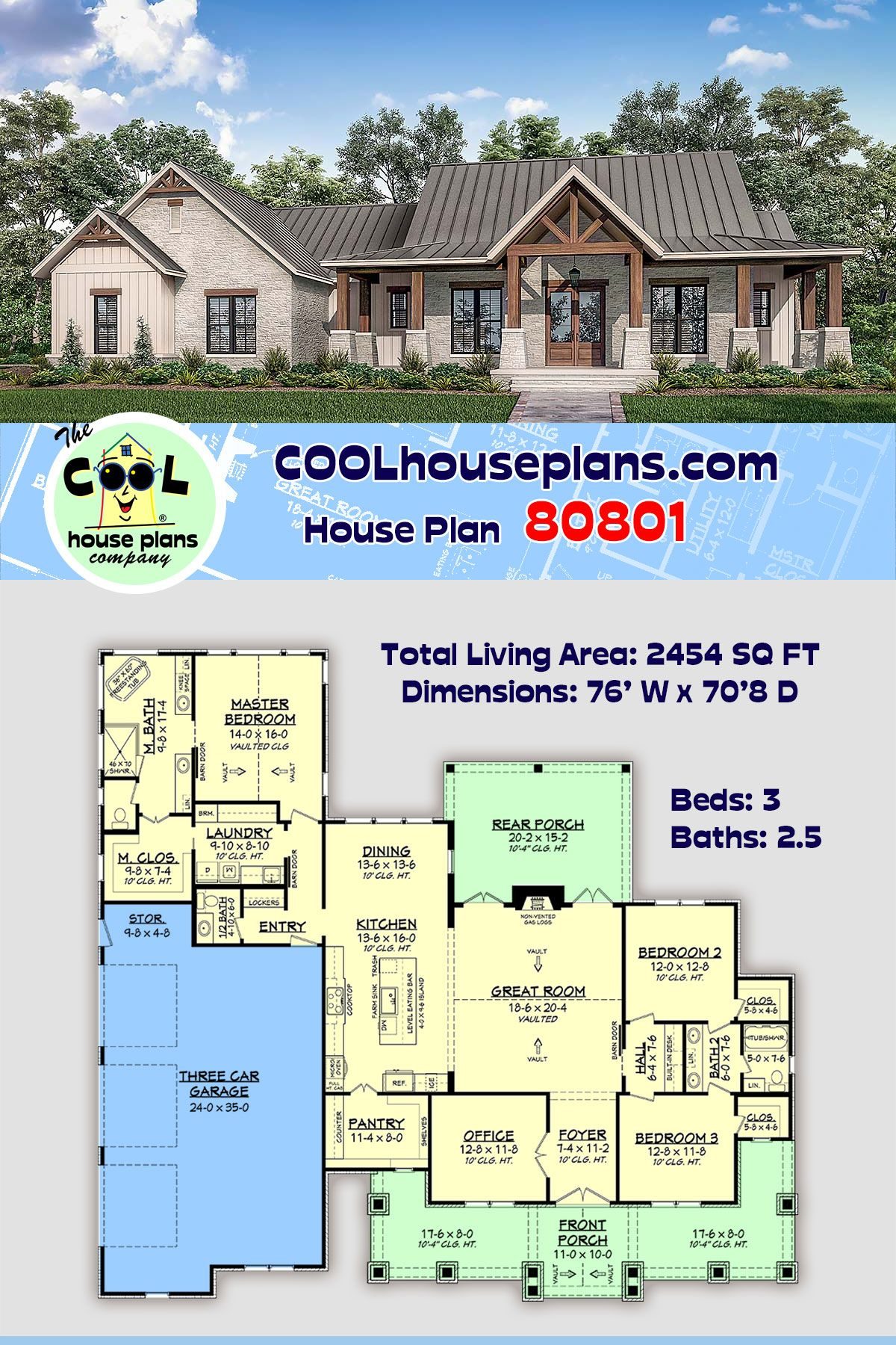 Traditional Style House Plan 80801 With 3 Bed 3 Bath 3 Car Garage House Plans Farmhouse Traditional House Plans House Plans