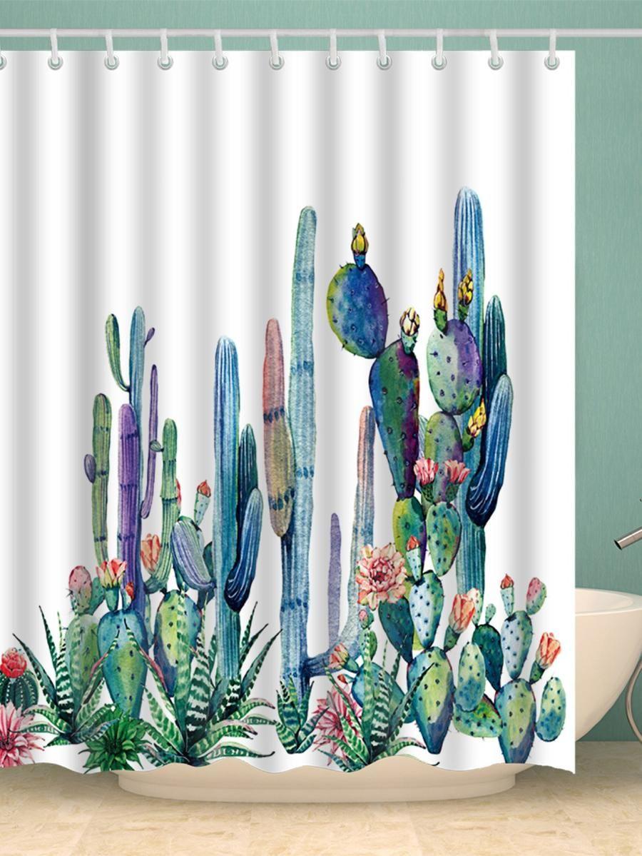 Cactus Shower Curtain With Hook 12pcs Shein Sheinside Cactus