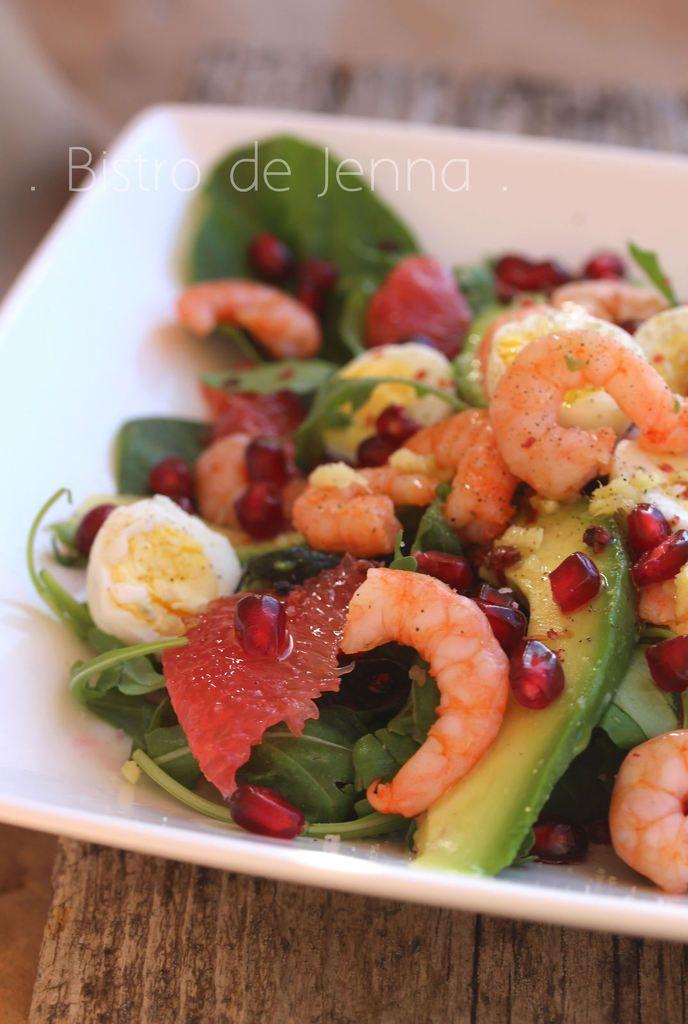 Photo of Avocado salad, pink grapefruit, pomegranate and shrimp – Jenna's Bistro
