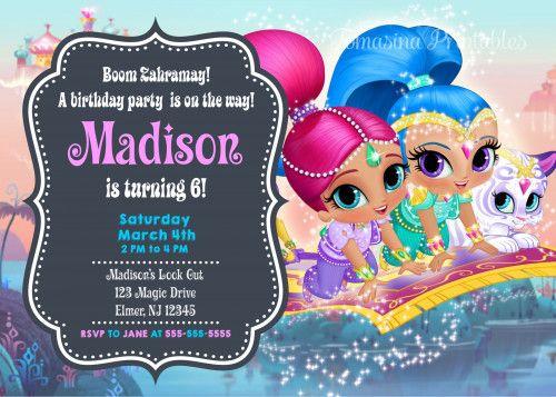 Shimmer And Shine Birthday Invitation Printable Digital Personalized Printable Birthday Invitations Birthday Invitations Birthday Invitation Templates