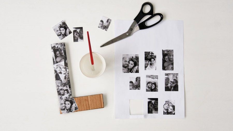 Photos glued on cardboard | How to make a photo collage love sign | Tesco Living