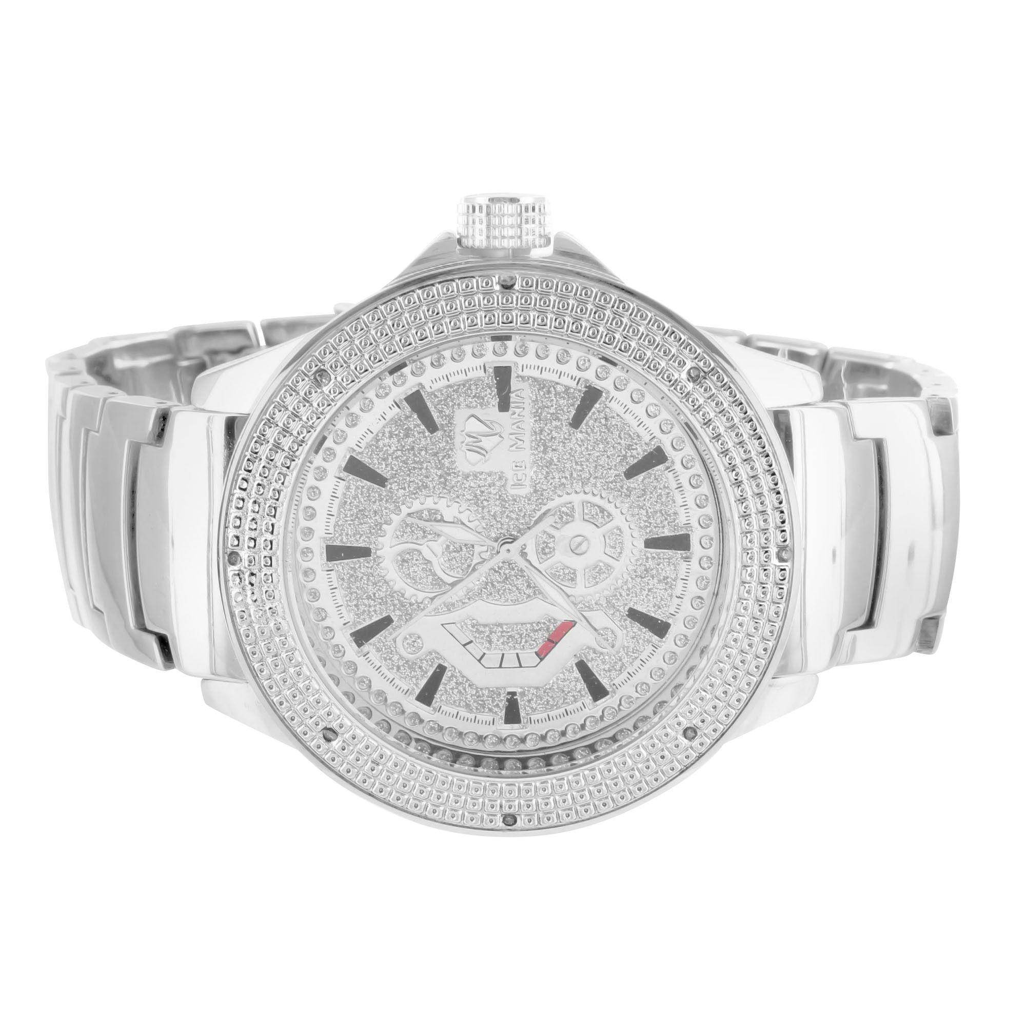 New White Gold Finish Shiny White Custom Dial Mens Ice Mania Diamond Watch