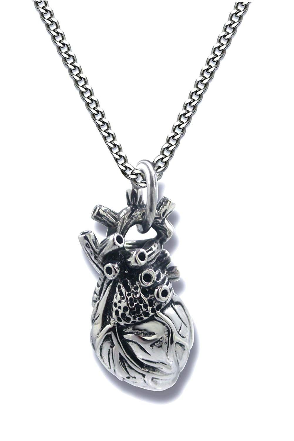 17415a8689b Pearlina Anatomical Heart Necklace Man or Woman 3D Pendant Oxidized  Antique-Finish Stainless Steel