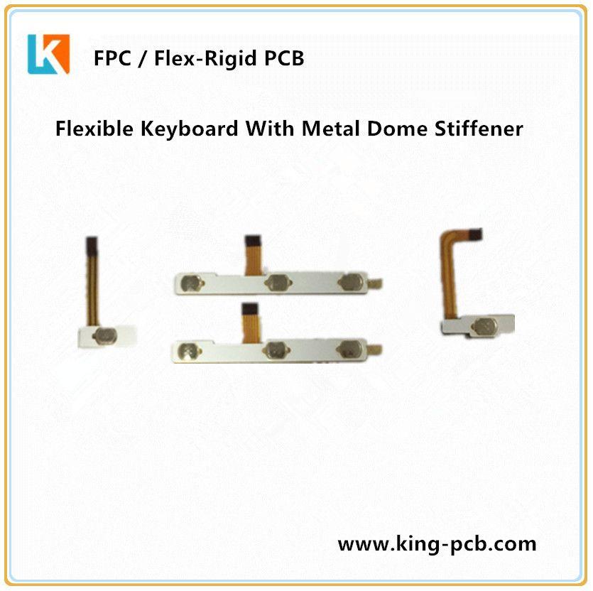 Flexible Keyboard With Metal Dome Stiffener Flex Printed Circuit Boards Circuit Board