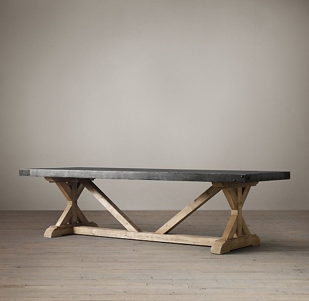 Salvaged Wood Concrete X Base Rectangular Dining Table