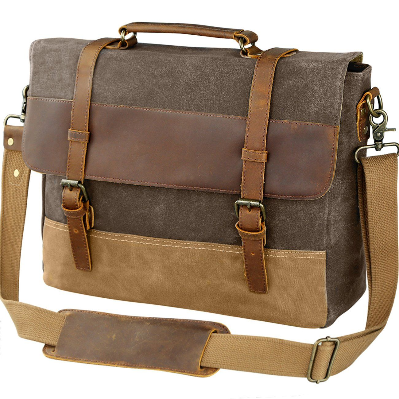 Men Retro Waterproof Canvas Messenger Bag Handbag Business Shoulder Bag Satchel