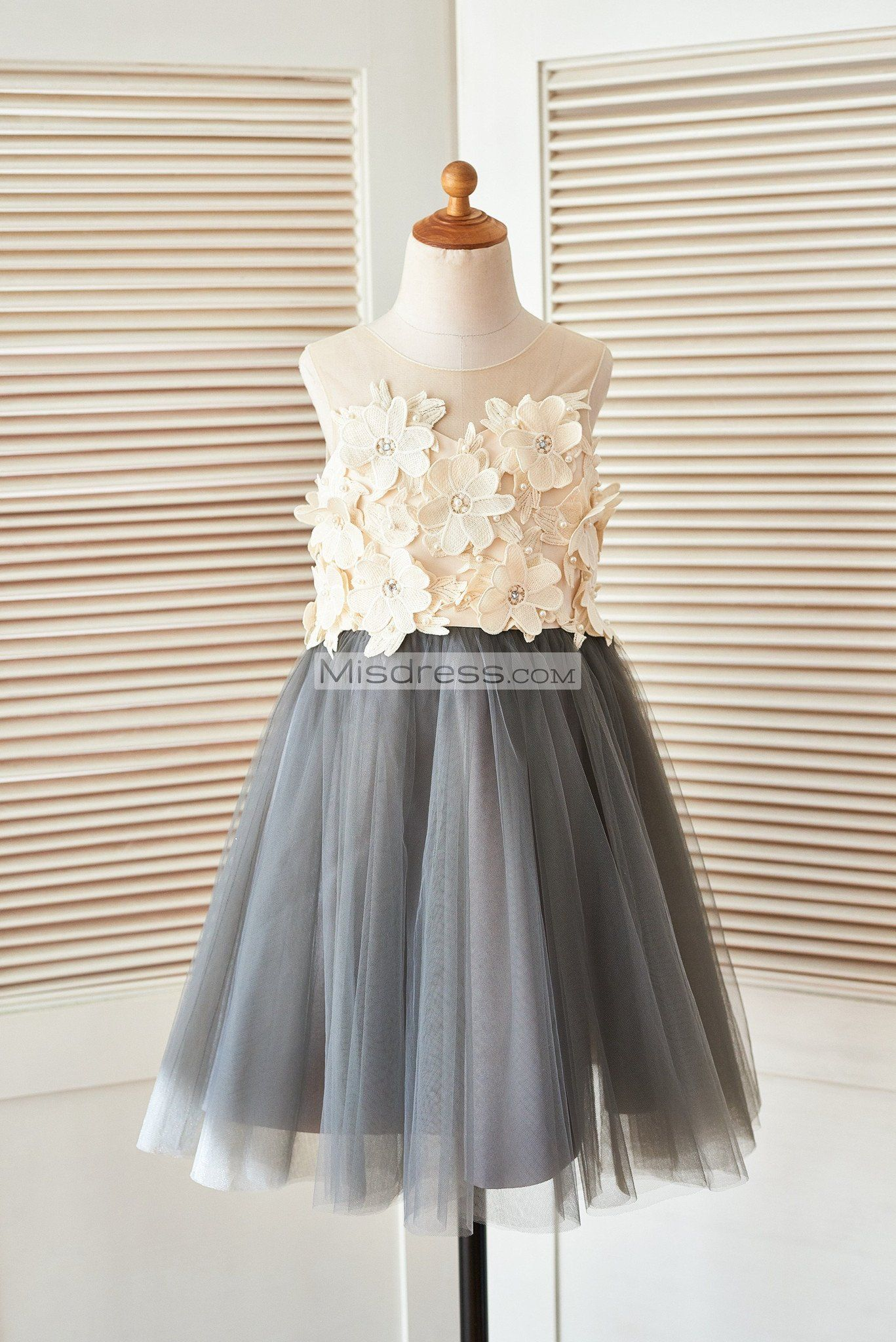 75eeb7d73 Sheer Illusion Neck Gray Tulle Wedding Flower Girl Dress with Champagne 3D  Flowers ...