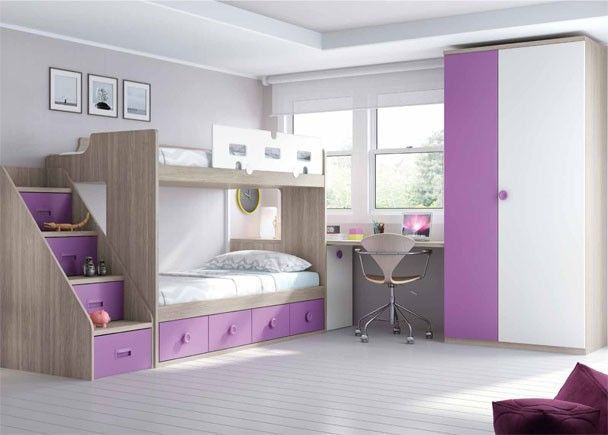 Habitaci n infantil con literas armario y escritorio literas pinterest literas dormitorio - Armario habitacion infantil ...