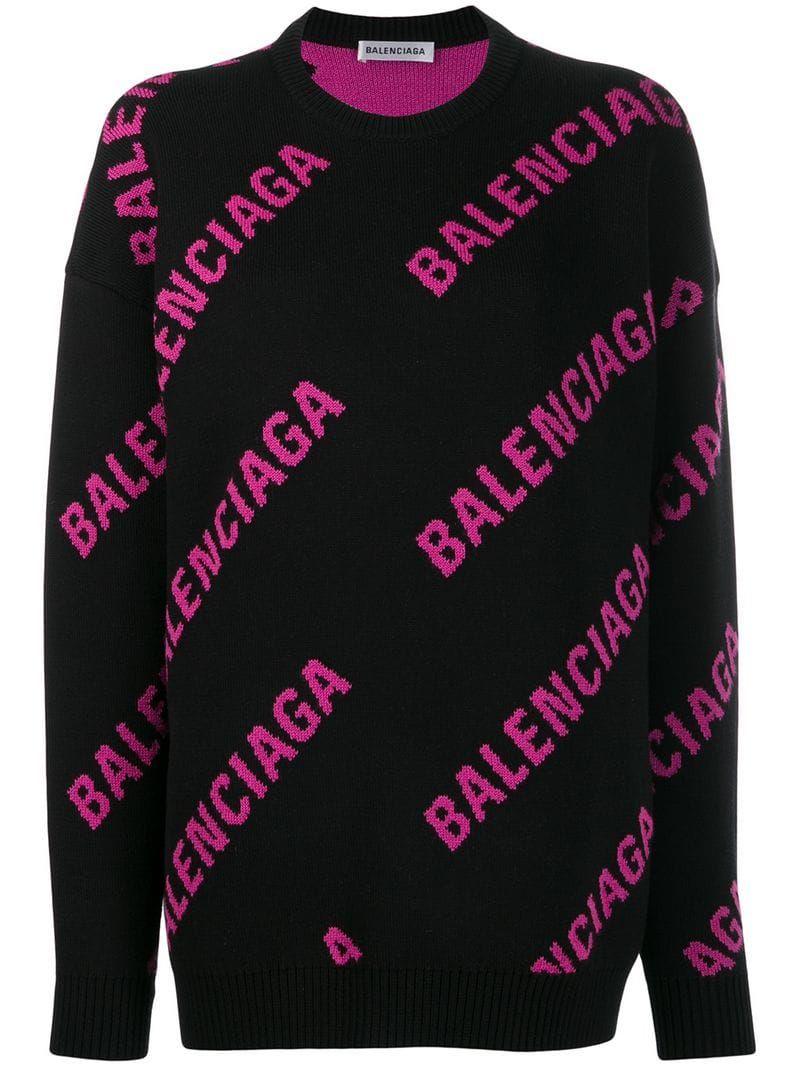 Balenciaga Logo Crewneck Sweatshirt Black Sweatshirts Crew Neck Sweatshirt Crew Neck Sweater Outfit [ 1067 x 800 Pixel ]