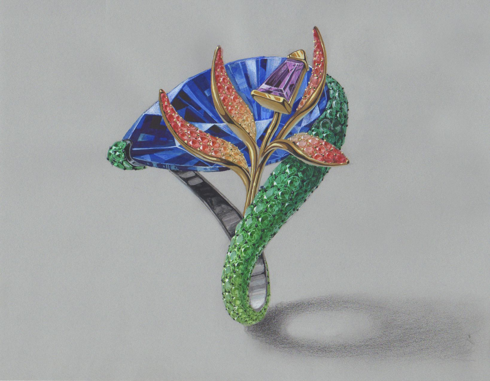 A Ring Design Inspired By A Flower Bird Of Paradise Facebook Www Facebook Com Wooakimdesig Jewelry Illustration Jewellery Design Sketches Jewelry Drawing
