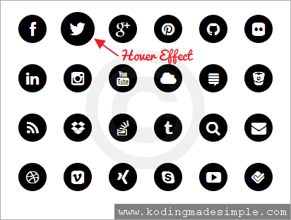 Circle Rounded Social Media Icons Using Pure Css And Html Social Media Icons Social Media Css