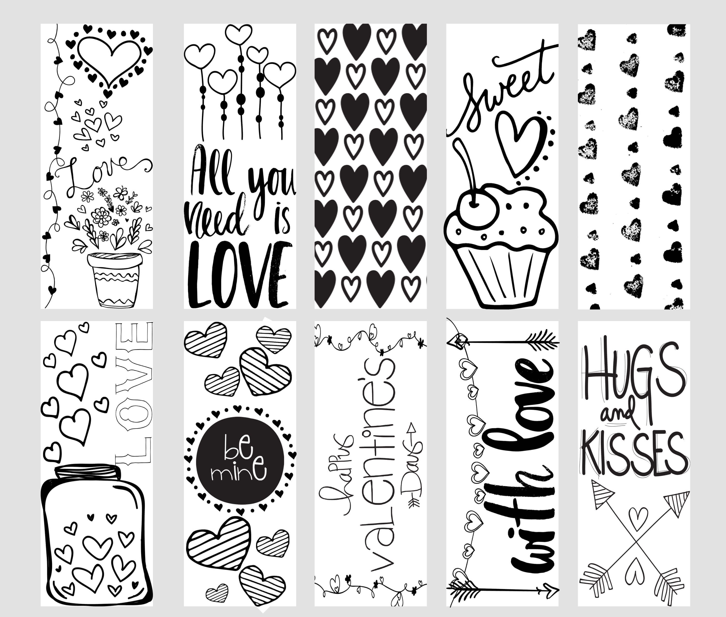 valentine printable coloring page bookmarks  valentines