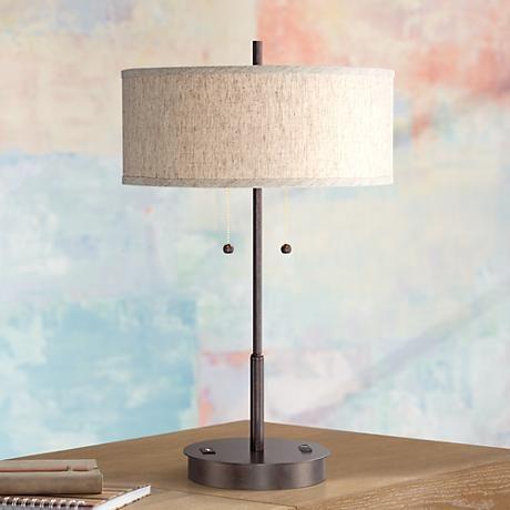 Nikola Bronze Metal Pull Chain Table Lamp With Usb Port 8n428 Lamps Plus Table Lamp Metal Table Lamps Lamp