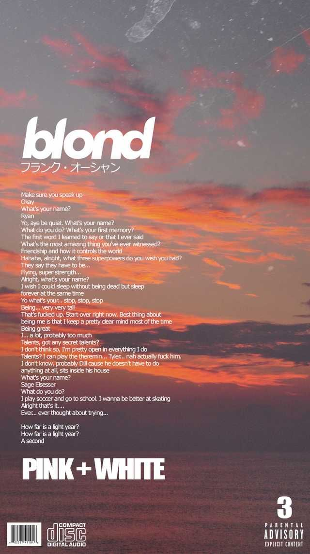 Blonde Alternative Song Covers (Phone Wallpapers