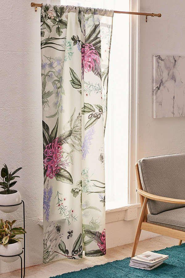 Elle Floral Blackout Window Panel is part of Home Accessories Design Window - Keep nature in, but light out with this UOexclusive blackout curtain in a lush, botanical print! Keeps rooms cool + dark for a good night's sleep, topped with a rod pocket for easily hanging from any of our curtain rods (sold separately)     Content + Care     100% cotton 	  Spot clean    	  Imported	 Size     Length 84