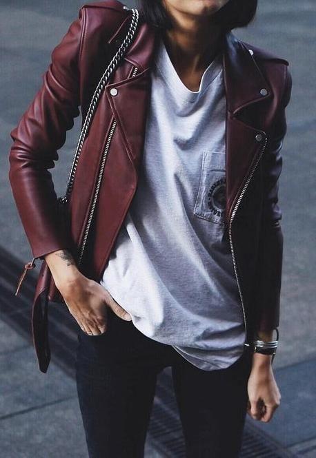 Burgundy Belted Leather Jacket White Tee Black Denim