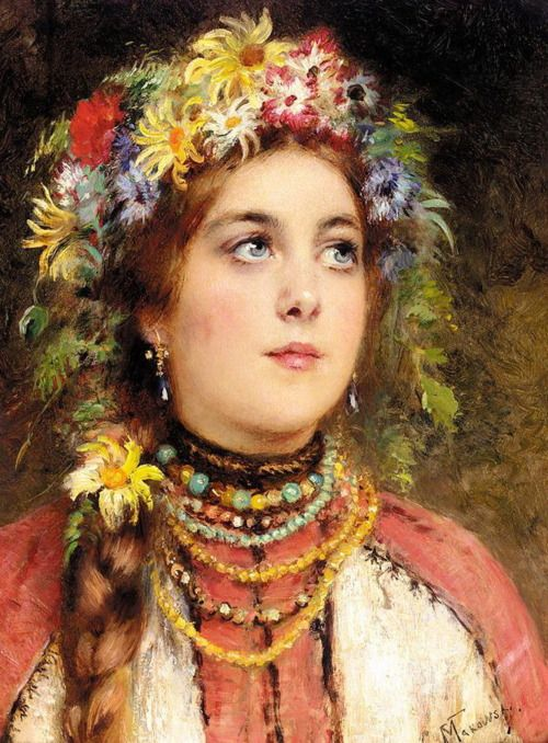 Russian Beauty in Summer Garland, Konstantin Makovsky