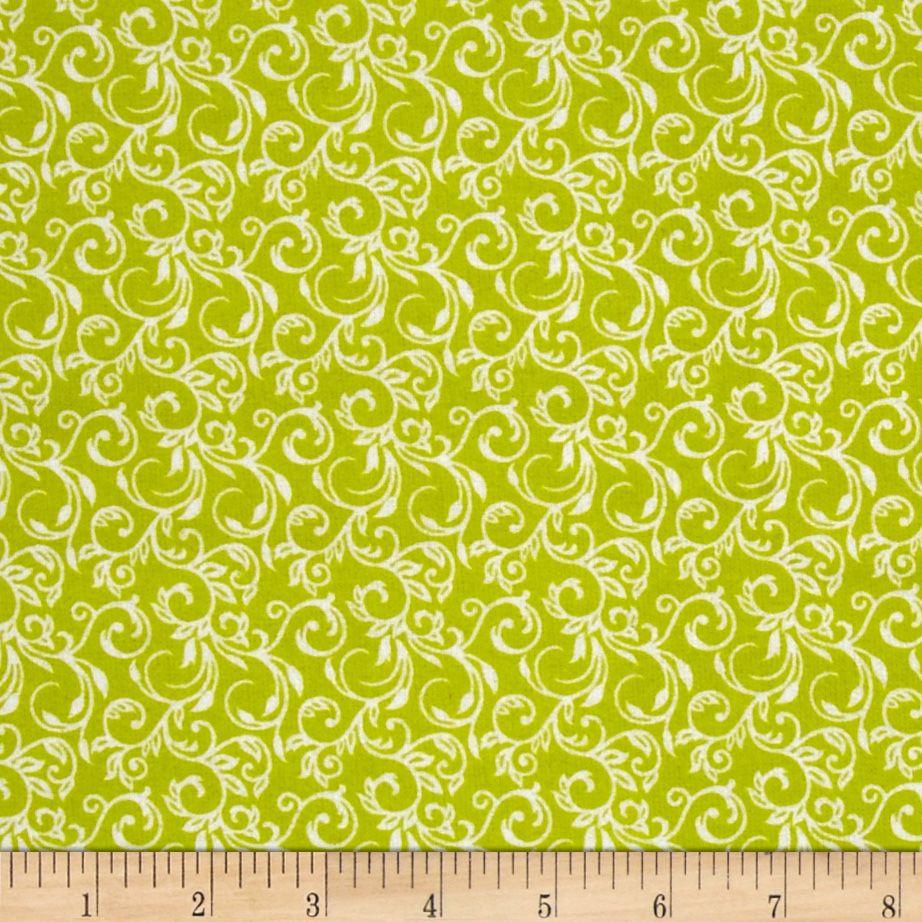 Cuddle Me Basics Flannel Scroll Lime Fabric