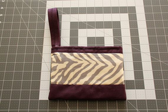 Zebra & Plum Canvas Clutch by MGardeski on Etsy