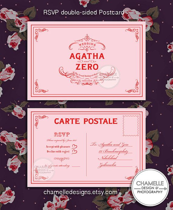 Wedding Invitation Set Printable Digital File by chamelledesigns