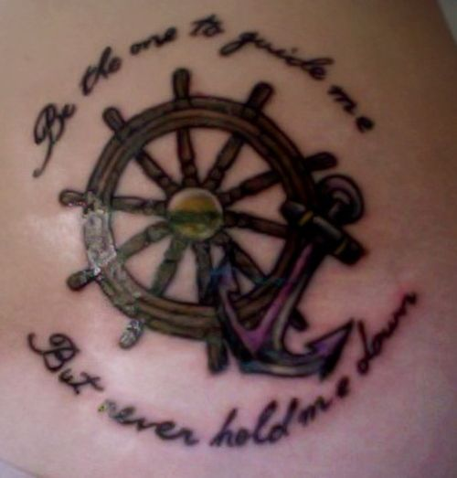 Ship wheel and anchor tattoo for best friends wheel for Anchor and wheel tattoo