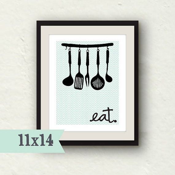 Kitchen Decor   Eat Sign   Kitchen Art   11x14 Kitchen Utensils Print    Kitchen Wall