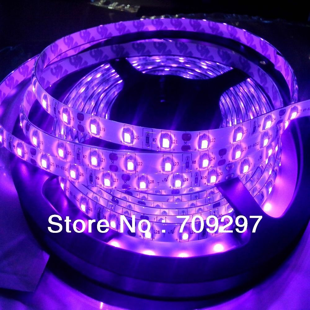 uv ultraviolet color 5m 300led strippurple 3528 smd waterproof dc12v 60ledm led
