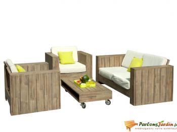 Salon de jardin bas en bois Cosmos | DECO INT/EXT MAISON ST ...