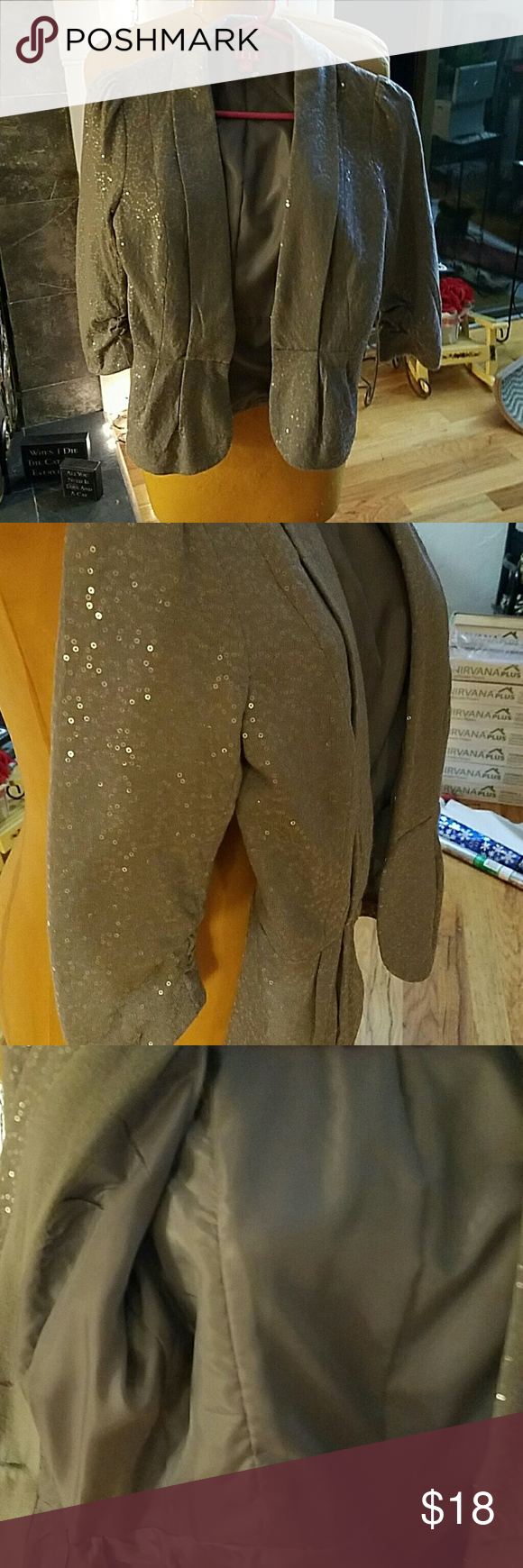Jacket Adorable peplum style short jacket with sparkling sequins. Fully lined with hook and eye closures.  Like new Elle Jackets & Coats