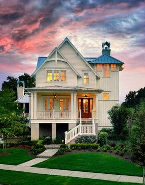 Love the farmhouse/beach house feel of the front of this house.  (but on a much smaller scale)
