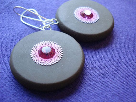 PIF  fuchsia sparkle earrings by noneoftheabove on Etsy