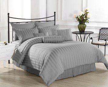 Amazon Com Royal Calico 7pc Comforter Set Damask Stripe