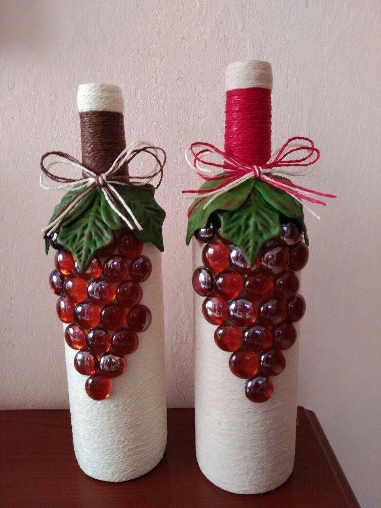 Botellas Fecoradas Decoratedwinebottles Recycledwinebottles Recycled Wine Bottles Glass Bottles Art Wine Bottle Art