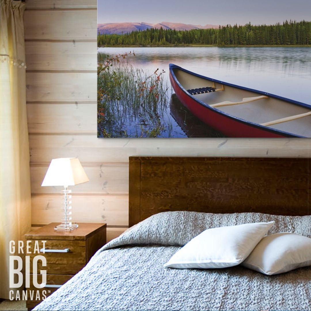 Canoe And Boya Lake At Sunset Northern British Columbia Canada Cabin Wall Art Home Big Wall Art