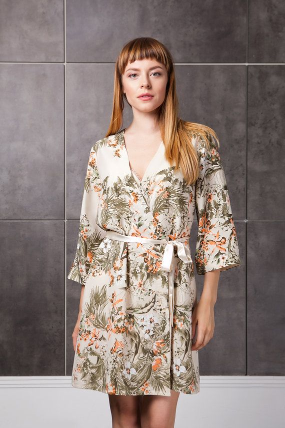 Cream Floral Robe/ Floral Dressing Gown / Silky by BunnyStreetCom ...
