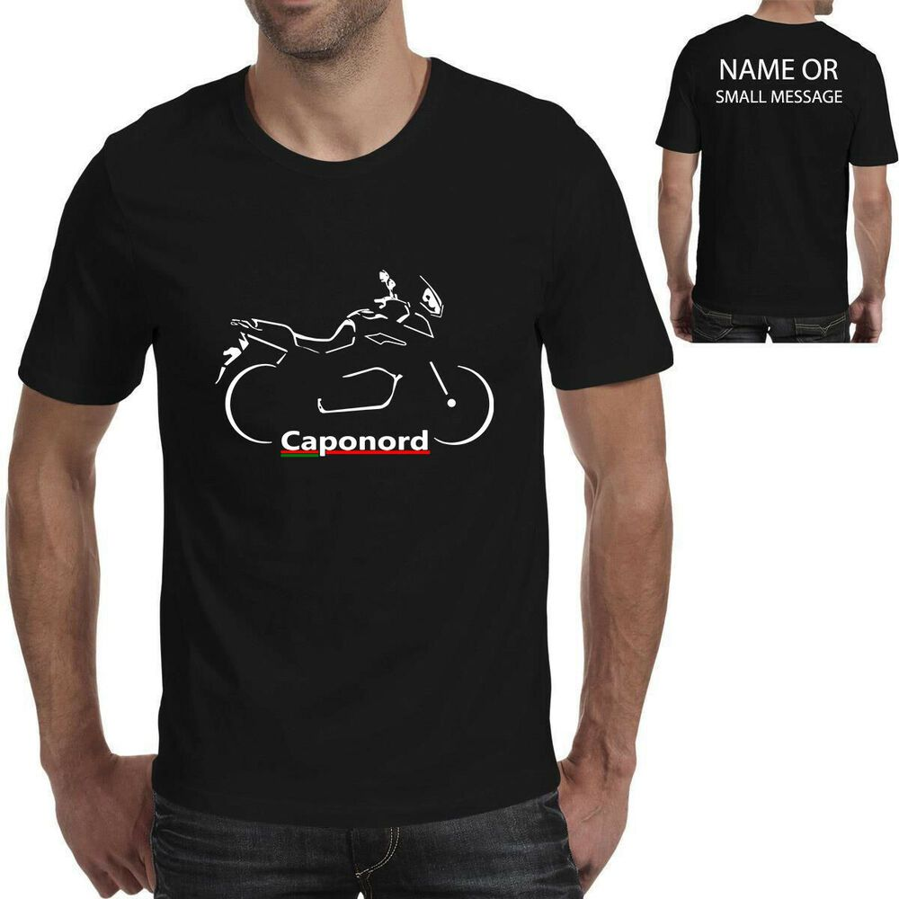 Caponord Silhouette Motorcycle Motorbike Biker Gift Printed T-shirt