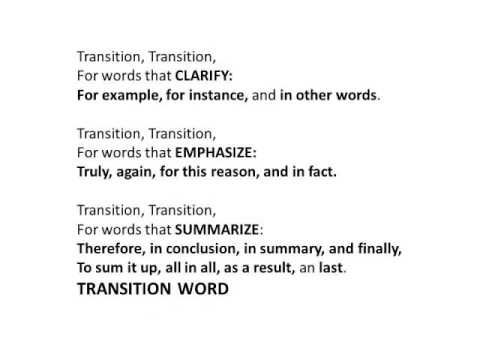 Jingle 12 The Transition Words Jingle 3rd Thru 8th