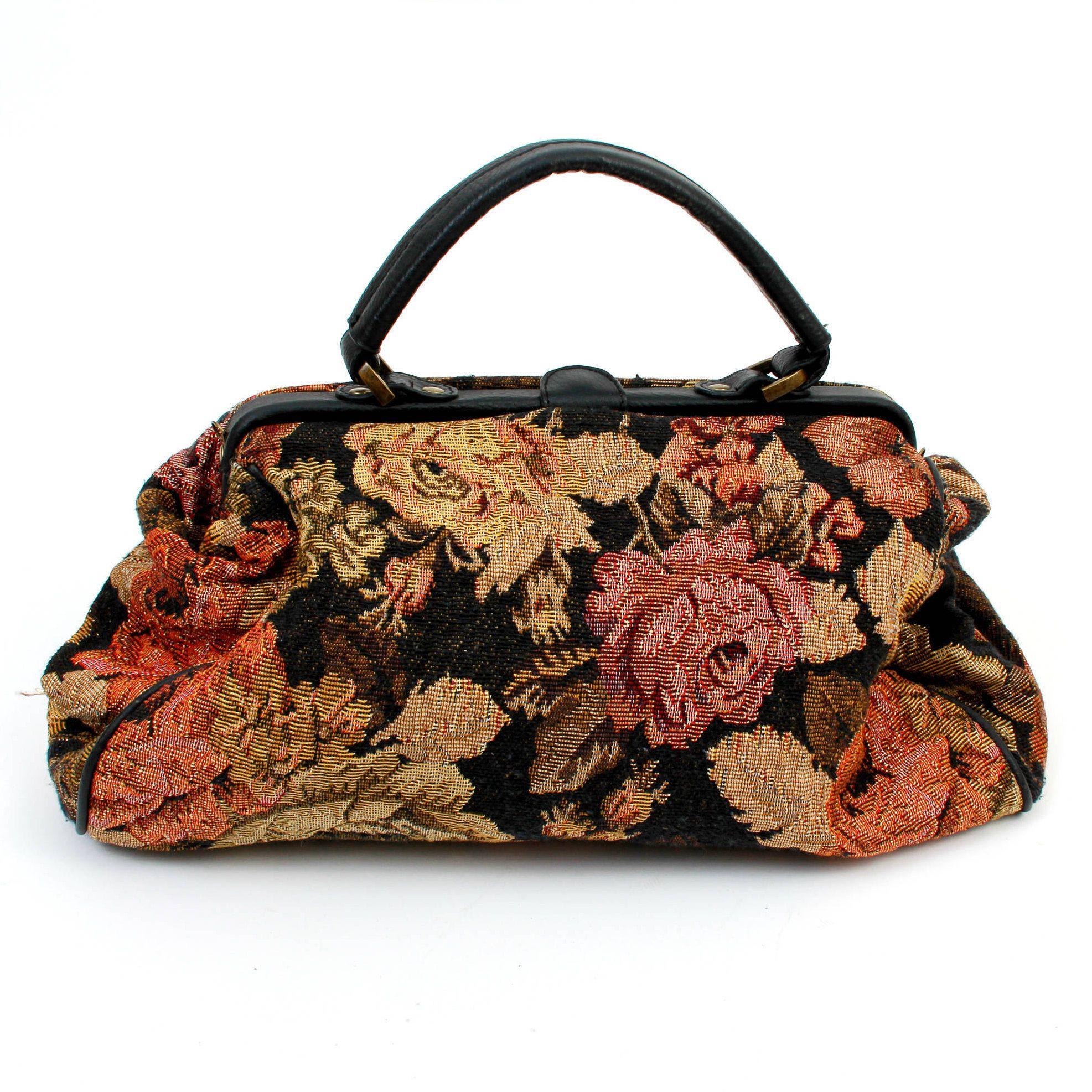 Vintage Tapestry Purse Fl Bag Retro Carpet Granny Handbag Boho By Ramaci On Etsy